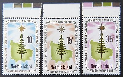 1975 Norfolk Island Stamps - Christmas - Set of 3 - Tabs MNH