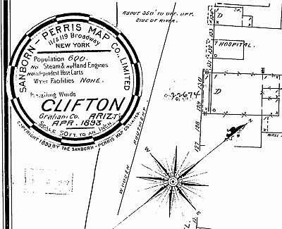 Clifton, Arizona~Sanborn Map© sheets 1883, 1901~with 3 maps on a CD