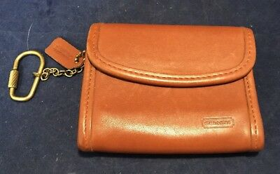 Vintage COACH Designer Quality Brown Leather Coin Wallet Purse w/ Chain (G121)
