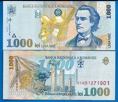 Romania P-106 1000 Lei Year 1998 Uncirculated Banknote Europe