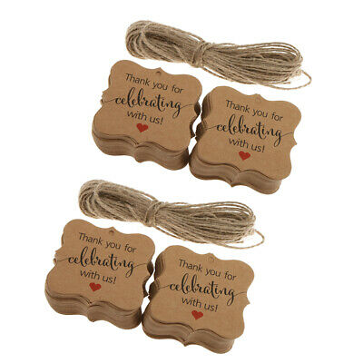 200x Rustic Kraft Paper Thank You Cards Gift Tags Wedding Party Favor Labels