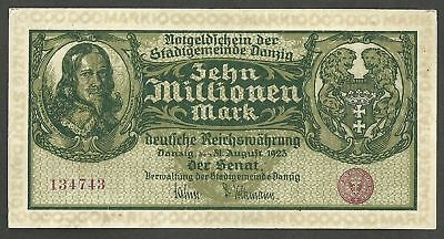 10 MILLIONEN MARK, Free City of Danzig 10,000,000  mark 1923-08-31 P-25b VF++XF