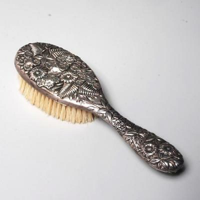 Jacobi & Jenkins Sterling Silver Repousse Hairbrush Floral & Foliate