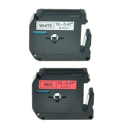 """2PK MK 231 431 Label Tape Black on White/Red For Brother P-Touch PT-70 12mm 1/2"""""""
