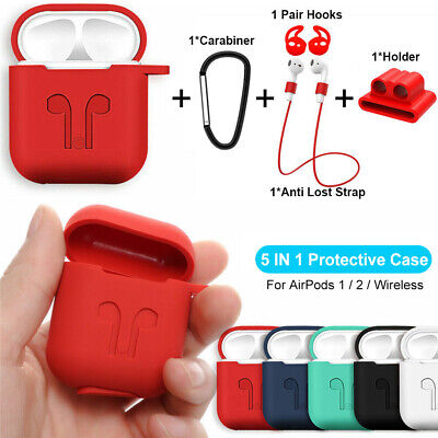 For Apple AirPods Silicone Cover Skin Case w/ Carabiner+Anti-lost Earphone Strap