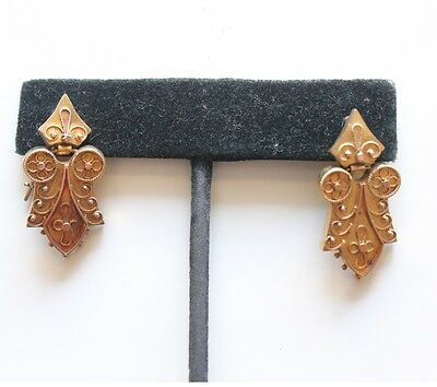 Antique Victorian Etruscan 14k Gold Pierced Earrings