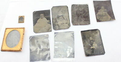 Lot Of 9 Antique Tin Types Photographs Babies And Children Victorian Cute! Nr 46