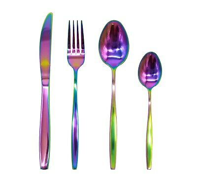 Stainless Steel Cutlery Set Iridescent Rainbow 16/24/32piece Slim &Curved Handle