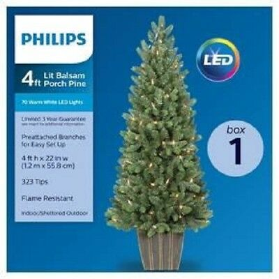 Philips 4ft Prelit Artificial Christmas Tree Potted Balsam Fir Warm White Led