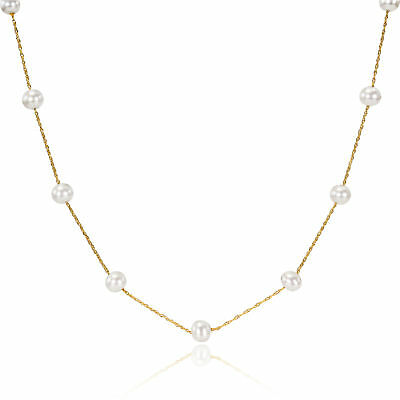 Amour 10k Yellow Gold White Freshwater Pearl Necklace (5.5-6mm)