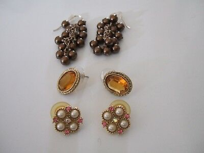 Attractive Lot Of 3 Pairs Vintage Earrings Dangle & Post Style For Pierced Ears