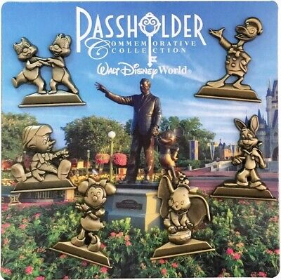 Passholder Gold Statues Disney Trading Pin Set - 6 Total LE Pins - Brand NEW