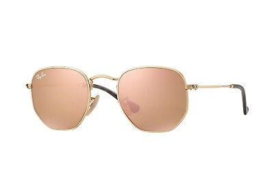 fce561769fcb7 Ray Ban RB3548N 001 Z2 Gold Frame Copper Flash Hexagon 51mm Lens Sunglasses