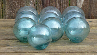 """Vintage Japanese Round Glass Fishing Floats,  3.5"""", Lot 10"""