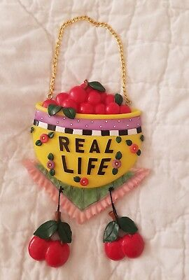 """Mary Engelbreit Very Cherry Wall Plaque-Hanging Decor-""""REAL LIFE""""-1998"""
