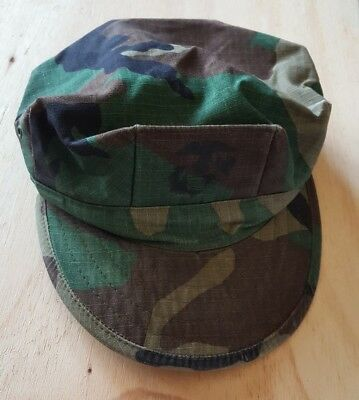 US Military Issue Marine Corps USMC 8 Point Woodland Utility Cover Hat Cap Sz S