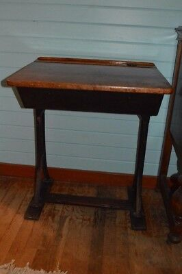 Antique school desk, wood and metal, vintage, table, student, furniture, inkwell