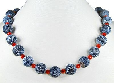 Gorgeous Precious Stone Necklace in Fossil Agate with Spacer Beads of Carnelian