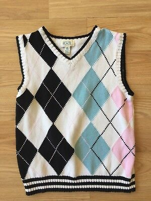 The Children's Place argyle sweater vest pink and blue sz 5/6 Easter