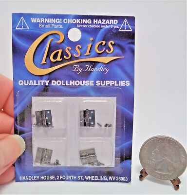 Dollhouse Miniature 1:12 Butt Hinges With Nails, Pewter Set 4 Classics CLA05555