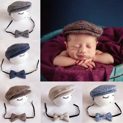 Baby Toddler Peak Beanie Cap Crochet Hat + Bow Tie Photography Props Outfits Set
