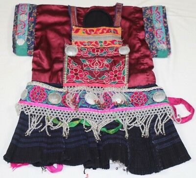 chinese miao's old miao silver local cloth hand embroidery jacket vest waistbelt