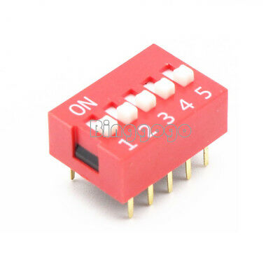 5Pcs  Slide Type Switch Module 2.54mm 5-Bit 5 Position Way DIP Red Pitch