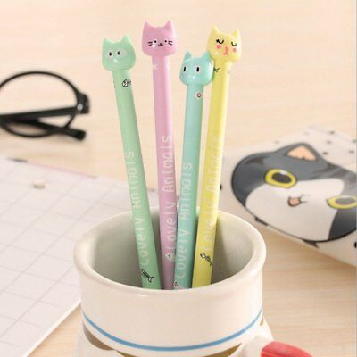 4pcs/set Kawaii Kitsch Cat Head Gel Pen Cartoon Korean Cute Pencil Gifts HOT