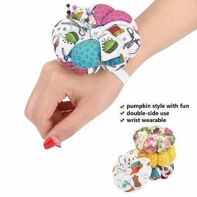 Handcraft Sewing Needles Pin Cushion Pumpkin Style Holder W/ Elastic Wrist Strap