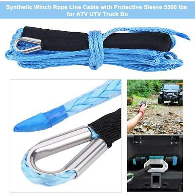 """1/4"""" * 49ft Synthetic Winch Rope Line Cable 6600LBS for ATV UTV Truck Black&Blue"""