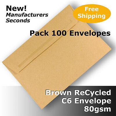 100 x Brown ReCycled Envelopes C6 Size !SECONDS! Self Seal 80gsm #S0771 #F1