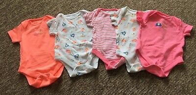 F&F Baby girls short-sleeve bodysuit  pack of 5 0-3 months
