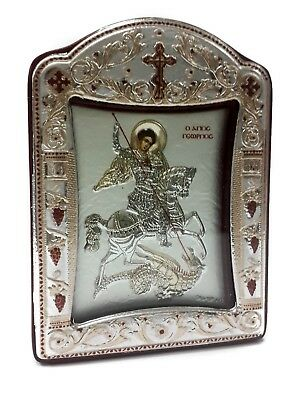 Saint St George Byzantine Silver 925 Icon Greek Orthodox Plaque Gold Plated 4.1""