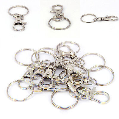 20pcs Silver Tone Lobster Trigger Swivel Clasps For Keyring Hook Zinc Alloy