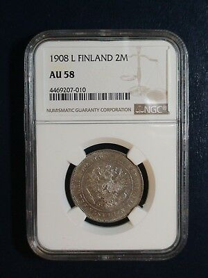 1908 L FINLAND TWO MARKKAA NGC AU58 2M SILVER Coin PRICED TO SELL NOW!