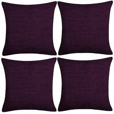 "4 x Luxury Plain Chenille Cushion Cover Soft Covers 43 x43cm, 17x17"", Plum"