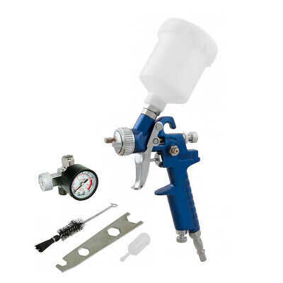"125Ml Mini Hvlp Air Paint Spray Gun 1/4"" Bsp Inlet With 0.8Mm Nozzle + Gauge"