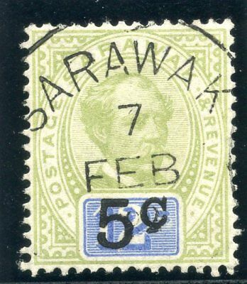 "Sarawak 1891 QV 5c on 12c green & blue (no sto after ""C"") VFU. SG 26a. Sc 24a."