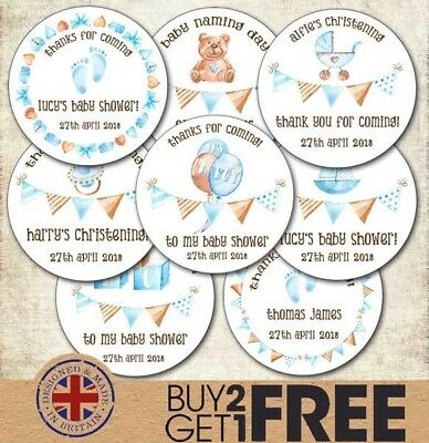 24x 40mm Personalised New Baby Shower Birth Boy Christening Teddy Stickers/Label