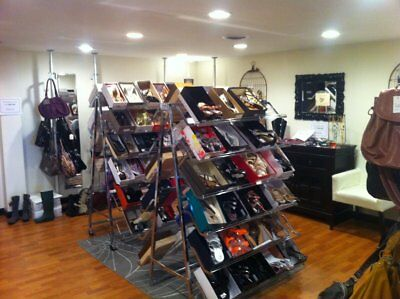 Folding Commercial Chrome Shoe Racks for Retail Consignment or Home Use