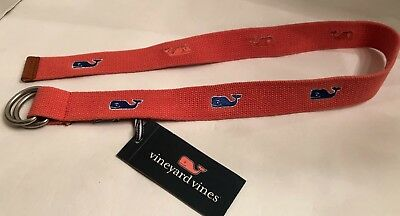 Vineyard Vines Boys Belt Youth Whale  D-ring Jetty Red NWT✔️