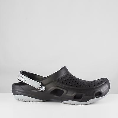 d81062d57563 Crocs SWIFTWATER DECK Mens Croslite Touch Fasten Summer Clogs Black Light  Grey