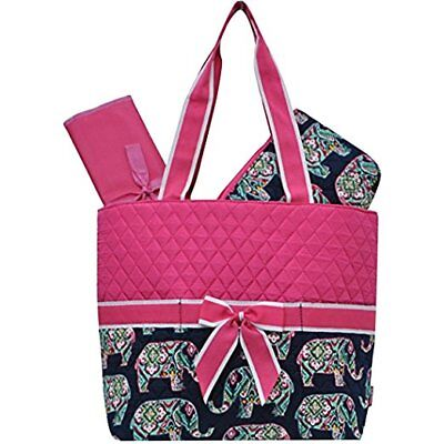 Diaper Bag, 3pc, Elephant Print Quilted, Brand New, NGil
