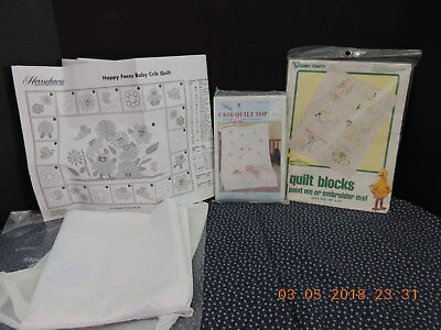 Lot of 3 Vintage Stamped Embroidery Baby Crib Quilt Tops & Quilt Blocks Crafts