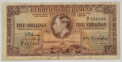 ***1937 Bermuda 5 Shillings Note British Colonial Bill Banknote Paper Money***