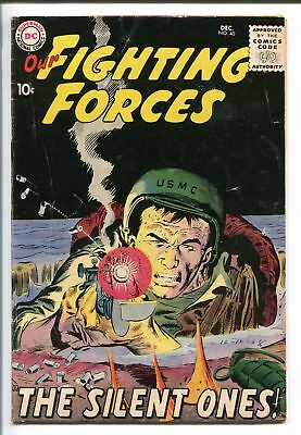 OUR FIGHTING FORCES #40-1958-DC-JOE KUBERT-BLACK COVER-GUN FIGHT-vg+