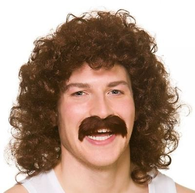 Adult Mens 118 Perm Wig Tash Fancy Dress Accessory Set 80s Scouser Comedy New