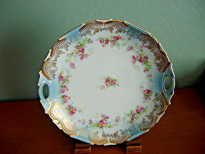 Vintage German? French? Blue White Cake Plate w/Guilded Edge Pink Roses Numbered