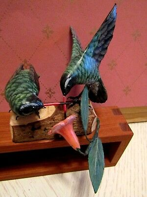 Andy Anderson Signed Wood Carving of 2 Humming Birds