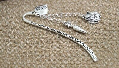 Guinea Pig And Carrot Charm Bookmark Silver Cute In Gift Bag
